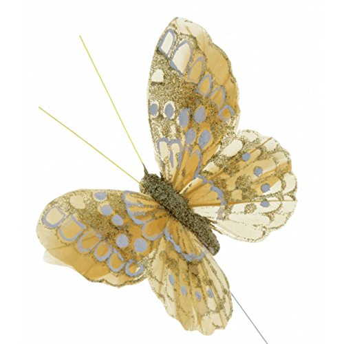 Corsage Creations - 10cm Glitter Butterflies - Gold (12pcs per pk, on a 20cm Wire)