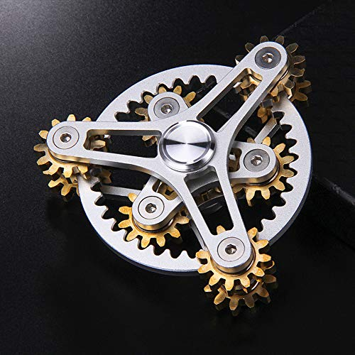 FREELOVE 9 Series Gear Pure Copper Brass Fidget Spinner Toy EDC Industrial Mechinery Disassemble R188 Silent Stainless Steel Bearing,3~5 minutes (7 Gear Wind Fire Wheel Silver, 7 Gear Wind Fire Wheel) by FREELOVE (Image #1)