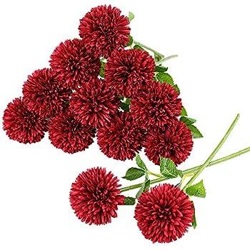 Tifuly 12 pcs Artificial Chrysanthemum Ball Flowers Bouquets for Bride Single Stem Plastic Hydrangea Silk Flowers for Wedding Bouquets Centerpieces Arrangements Party Home Garden Decor(Red)