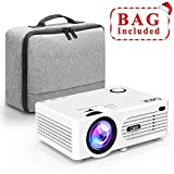 QKK Projector, Mini 3500 Lux Projector with Carry Bag, Video Projector Supports 1080P Full HD, Connection with HDMI VGA SD USB AV Devices, White.