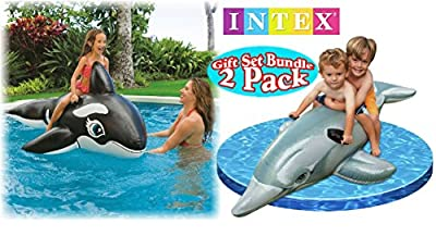 Intex Pool Floats Dolphin Ride-On & Whale Ride-On Gift Set Bundle - 2 Pack