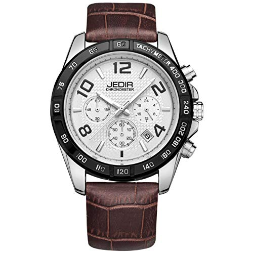 JEDIR Men Chronograph Watch Sport Military Quartz Analog Dial with Date Multifunction Brown Leather Strap