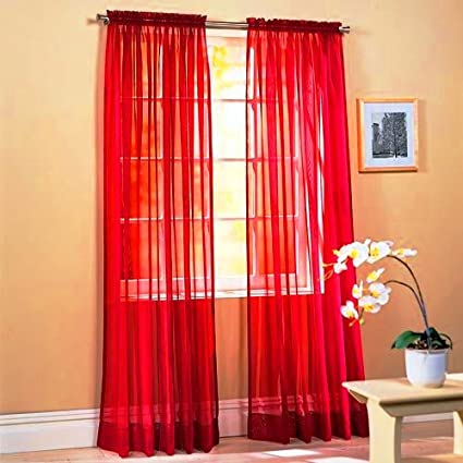 SET OF 2 84quot LONG RED SHEER VOILE CURTAINS TAILORED CURTAIN PANELS