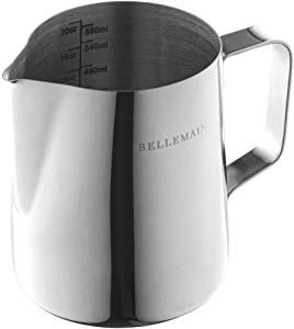 Stainless Steel Frothing Pitcher, Measuring Cup, and Serving Jug by Bellemain—Ideal for Cappuccinos and Latte Art, 20 oz./591 ml