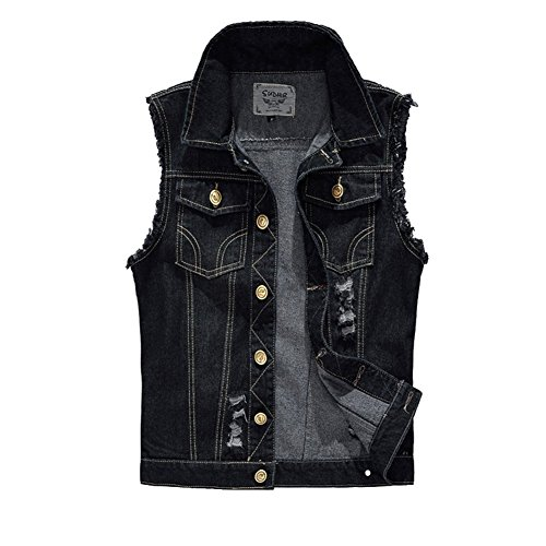 DeLamode Men Jeans Cowboy Vest Denim Jacket Break Hole Camo Waistcoat Tank Coat 2200-XXS