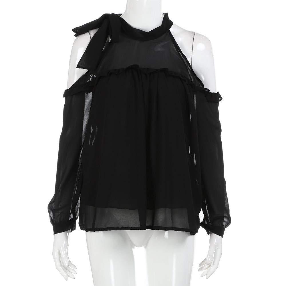 Mujer camiseta blusa casual elegante Otoño,Sonnena ❤ Camisa de chifón sexy de color sólido para mujer Blusas halter de manga larga para la fiesta y la ...