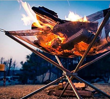 Soporte de marco plegable estufa fuego madera quema Grill Net accesorio de rejilla de acero inoxidable ...