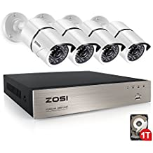 ZOSI 4CH FULL TRUE 1080P Video Security DVR 4X 1080P HD Outdoor Weatherproof Surveillance Camera System 1TB HDD White(100ft night vision, Motion Alert, Smartphone& PC Easy Remote Access)