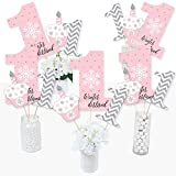 Big Dot of Happiness Pink Onederland - Snowflake Winter Wonderland First Birthday Party Centerpiece Sticks - Table Toppers - Set of 15