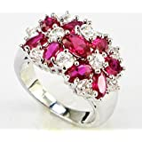 elegantshop Lady/Womens White 925 Silver Filled Red Ruby Wedding Ring Gift size 6-10 (8)