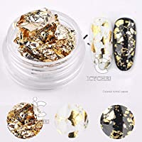 Gold Colorful Silver Aluminum Nail Art Foil Sticker Paper Gel Adhesive Glue Transfer Nails Paillette Flake Decal (gold)