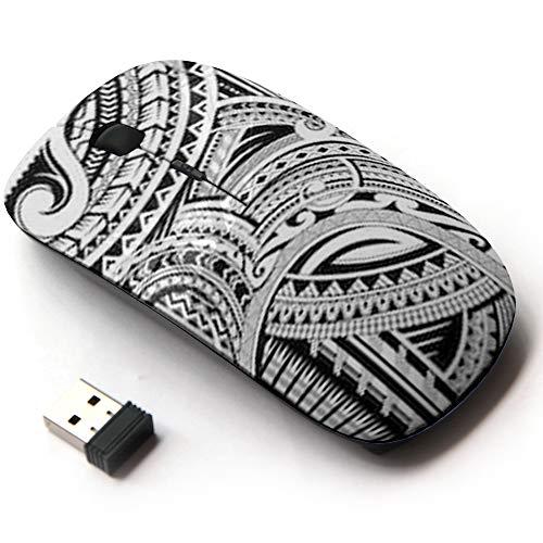 Ergonomic Optical 2.4G Wireless Mouse - Maori Style Tattoo Good