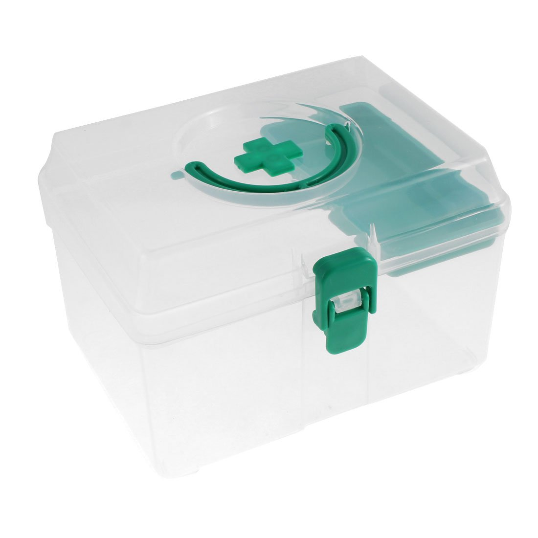 uxcell® Plastic Medicine Pill Storage First Aid Case Box Container Green Clear