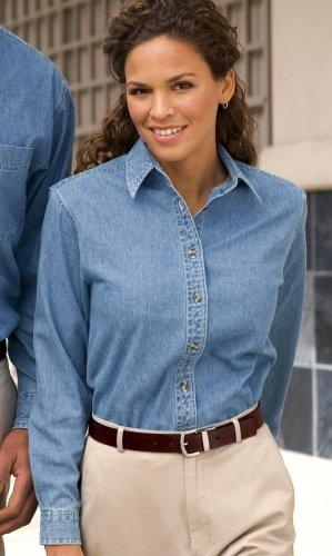 PORT AND COMPANY Ladies Long Sleeve Denim Shirt - 100% Cotton Fabric - S-4XL