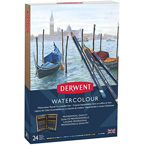 Derwent Watercolor Pencil Box (Derwent Colored Pencils, WaterColour, Water Color Pencils, Drawing, Art, Gift Set Wooden Box, 24 Count (2300152))