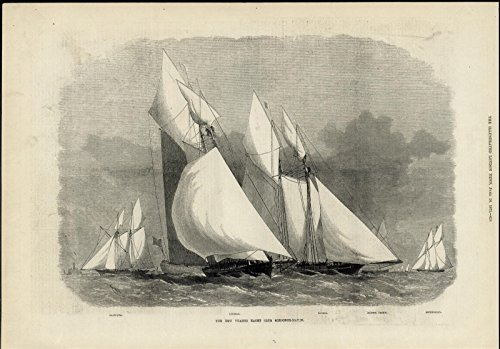 New Thames Yacht Club Schooner Race Regatta Sailboats 1871 great antique - Schooner Race
