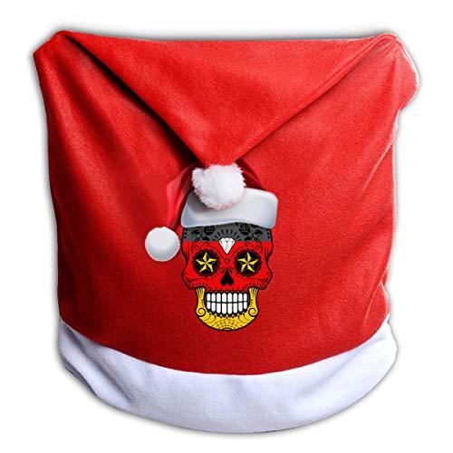 Arnold Glenn German Flag Suger Skull Christmas Santa Claus Chair Back Cover for Christmas Dinner Decoration