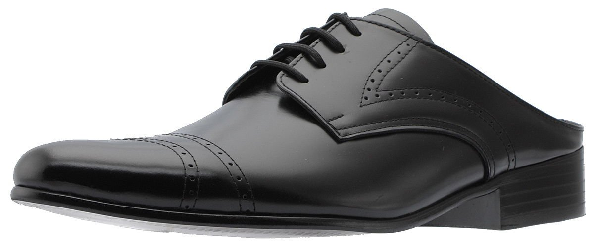 Holstyle Handmade Men's Medallion Lace-up Leather Straight-tip Dress Slippers Mules & Clogs Slip-On Slippers Shoes HSB-6508SL black 10 by Holstyle