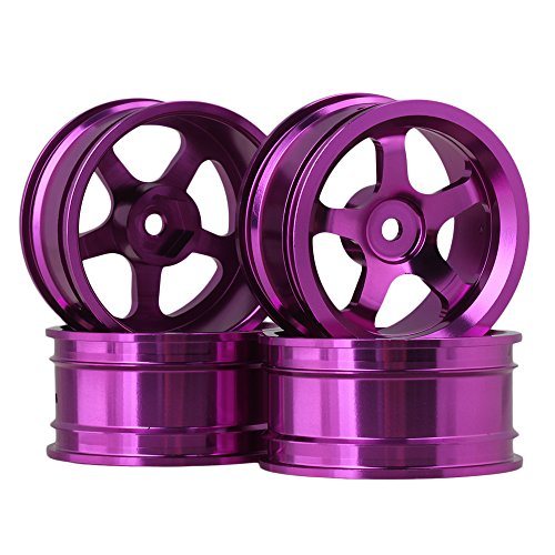 Alloy Road Wheels (BQLZR Purple Aluminum Alloy Wheel Rims With 5 Spoke For RC 1:10 On Road Car Pack Of 4)