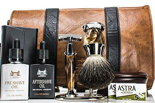 Maison Lambert Deluxe Shaving Kit – Shaving Set – Shaving Soap Kit – Wood Shaving Set – Vintage Shaving Kit – Mens Christmas Gifts – Wood Shaving Bowl – Mens Gifts – Gifts for Dad – Gifts