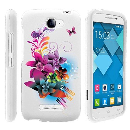 Miniturtle [ Alcatel One Touch Fierce 2 Case, Pop Icon Hard Case, A564C] -[Snap Shell] 2 Piece Rubberized Hard White Case - Purple Flower -