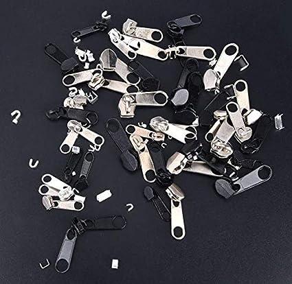 con cierre de cremallera incluye herramienta de alicates de instalaci/ón 84 piezas Cxssxling Kit de reparaci/ón de cremalleras con cremallera color negro y plateado