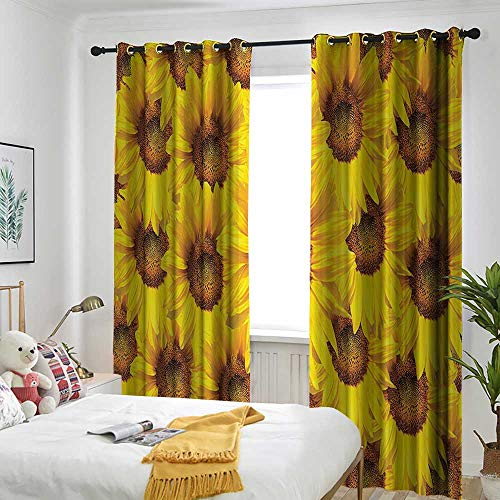 (AndyTours Sunflower Decor Collection Living Room/Bedroom Window Curtains Sunflower Bloom Bouquet Flourishing Flower Botany Morning Vibrant Color Picture Simple Stylish 84