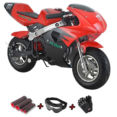 X-Pro 40cc Kids Pocket Bike Dirt Pitbike Mini 40cc Gas Bike Ride-on Bikes with Gloves, Goggle and Handgrip (Red)