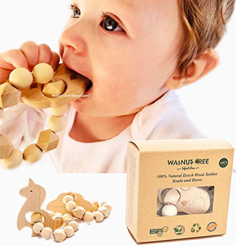 Walnut Tree Infant Love Organic Natural Beech Wood Teether, Handcrafted, Handmade Koala and Unicorn 2 PCS: 100% Natural Soothing Beechwood Toy, Perfect 100% BPA, Lead, PVC and Phthalate Free.