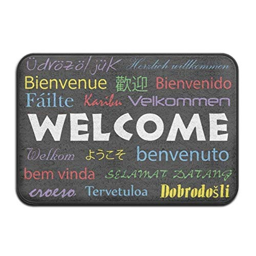 Welcome in Many Languages Black Background,Super Absorbent,Anti-Slip Mat,Funny,Decor Rug,23.6(L) X15.7(W) Inch,Non-Slip Home Decor