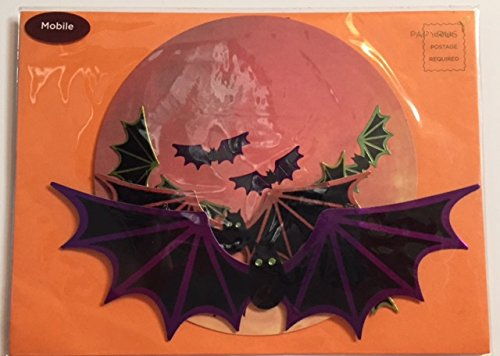 Papyrus Embellished Die-Cut Halloween Mobile Bats Greeting Card- (1) Greeting Card, Envelope, and Gold Seal- 7.5 x 5.75 (Pumpkin Cut Outs Halloween)