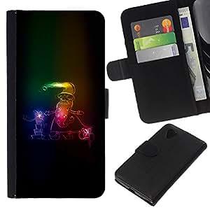 Stuss Case / Funda Carcasa PU de Cuero - Neon Pap¨¢ Noel Invierno trineo de Navidad - LG Nexus 5 D820 D821