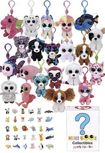 ReBL LLC TY Bundle - Assorted 5 Beanie Boo Keychain Clips Stuffed Animal Plush Toys Plus Mini Boo Collectible Plus Bonus Eraser (Girls) -