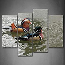 First Wall Art - Pair Of Mandarin Duck On Water Wall Art Painting The Picture Print On Canvas Animal Pictures For Home Decor Decoration Gift