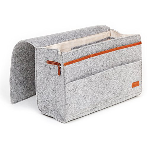 Kenley Bedside Caddy - Bed Skirt Storage 7-Pocket Organizer for Bedroom, College Dorm Room, Bunk, Loft Beds, Sofa - Under Mattress Holder Bag 9