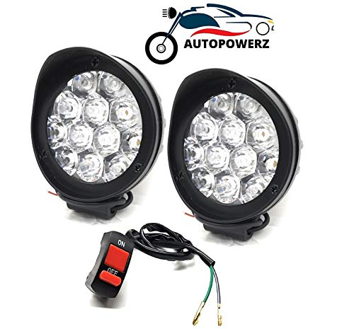 AUTOPOWERZ LED Fog Lights for Bikes and Cars High Power, Heavy clamp and Strong ABS plastic (White, 12 led cap set of 2)