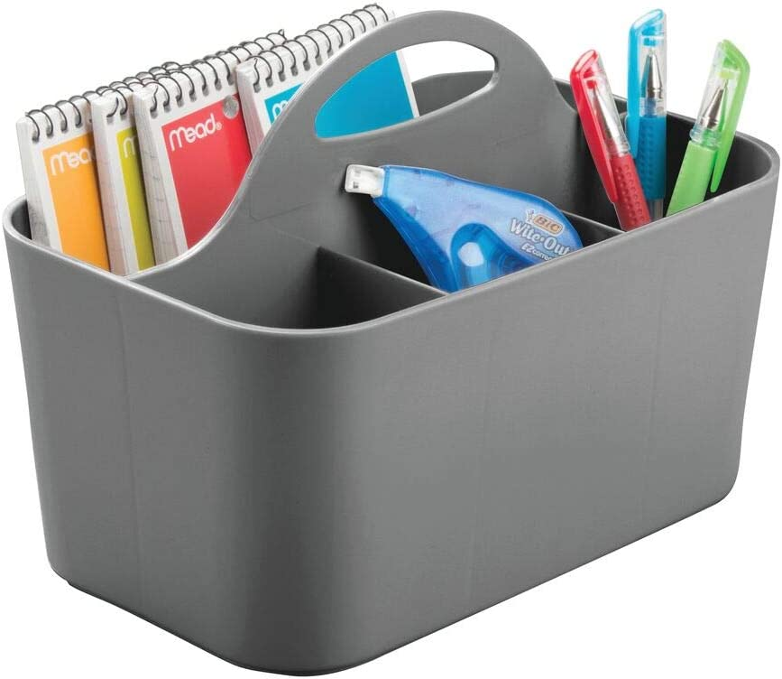mDesign Plastic Office Storage Organizer Caddy Tote with Handle for Cabinet, Countertop, Desk, Workspace - Holds Erasable Pens, Colored Pencils, Washi Tape, Notebook - Small - Charcoal Gray