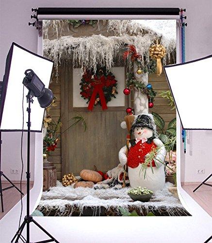 (Laeacco Vinyl 5x7ft Photography Background Front Door Wood House Christmas Decorations Cute Winter Snowman and Broom Flowers Wreath Pumpkins Scene Children Adults Portraits Video Studio Prop)