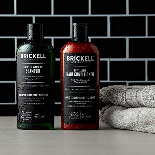 Brickell Men's Daily Revitalizing Hair Care Routine, Shampoo and Conditioner Set For Men, Mint and Tea Tree Oil Shampoo, Strength and Volume Enhancing Conditioner, Natural and Organic