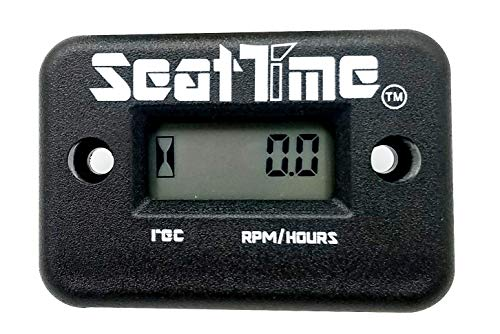 Seat Time Waterproof Inductive Hour Meter/Tachometer For 4 Stroke Dirt Bike ATV Enduro Dual Sport Motorcycle Maintenance RPM- Black
