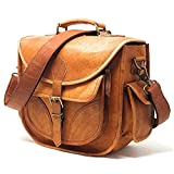DSLR Leather Camera Bag - Travel Vintage Crossbody Shoulder Bag with Removable Insert - Fits Standard Size DSLR with Lens