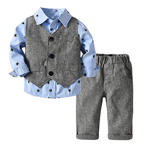 Top and Top Baby Boy Clothes Toddler Outfit 3PCS Children Clothing Set with Vest + Pants (80/6-12 Months, Sky Blue)