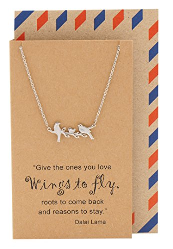 Little Birds on Branch Pendant Necklace for Women, Animal Pendant Necklace, Gifts for Family, Gifts for Sisters, comes with Inspirational Quote