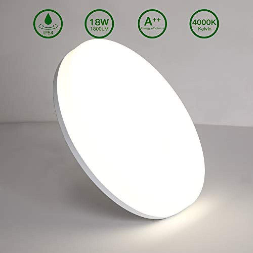 Aogled LED Deckenleuchte Neutralweiss Rund 22 cm Durchmesser 180 Abstrahlwinkel Badlampe IP54 Wasserfest Wohnzimmer-lampe 18w/_22/_Cm/_Neutral/_White/_4000/_K