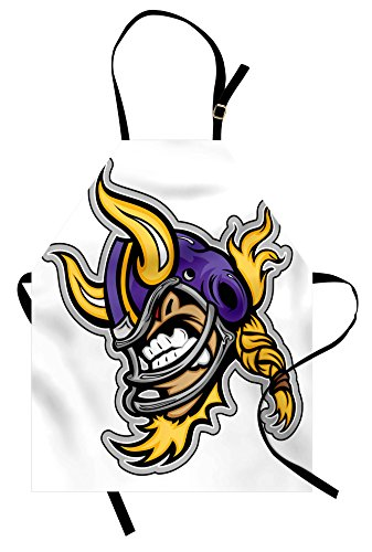 Lunarable Sports Apron, Image of a Snarling American Football Viking Mascot with Horns Illustration, Unisex Kitchen Bib with Adjustable Neck for Cooking Gardening, Adult Size, Yellow Purple