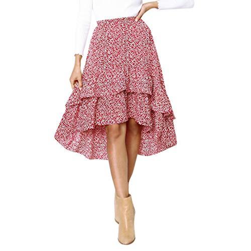 Xinantime Women Boho Dress Asymmetrical High Low Ruffle Hem Wrap Long Skirts