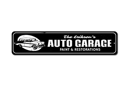 e48c286a19495 Amazon.com: The Lizton Sign Shop Auto Garage Sign, Custom Family ...
