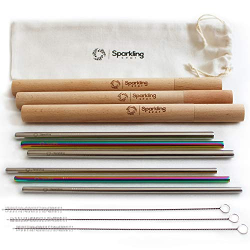 Reusable Straws with Case by Sparkling Spot - Eco friendly, Stainless Steel - Ideal for travel - Set includes 6x 8.5