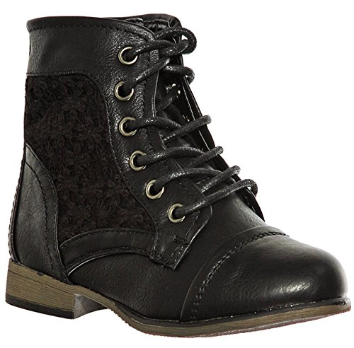 (shoewhatever Fashion Lace Up Combat Style Comfort Ankle Boots for Girls (4, blackblack) [Apparel])