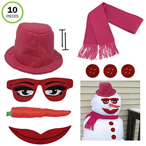 Evelots Lady Snowman Kit-All Pink-Glamorous Eyes/Mouth-Sturdy -